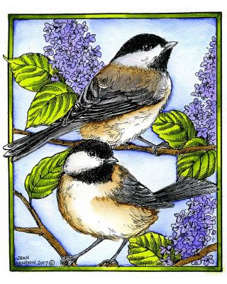 Chickadee Pair on Lilacs - P10178