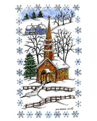 Church in Snowflake Frame - NN10344