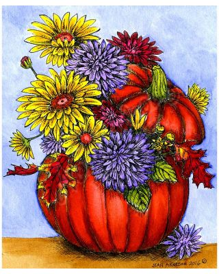 Fall Bouquet in Pumpkin - P10090