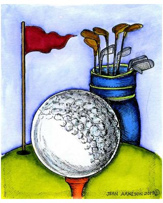 Golf Ball, Bag and Flag - M10261