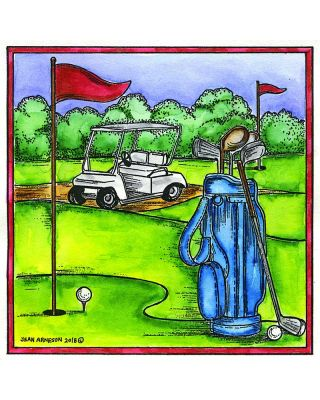 Golfing in Square Frame - PP10429