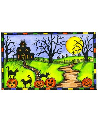 Haunted House, Cats and Path in Checkered Frame - NN10463