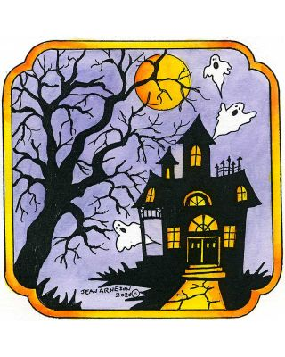 Haunted House In Notched Square Frame - PP10804