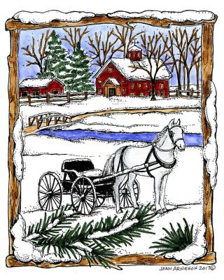 Horse and Buggy in Snowy Wood Frame - P10348