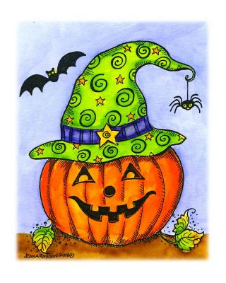 Jack O' Lantern With Witch's Hat - M10466
