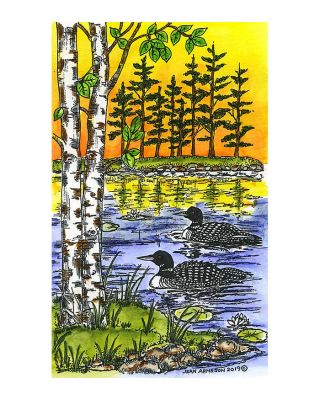 Loon Pair, Birch and Pines on Lake - NN10769