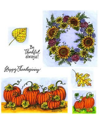 Sunflower Wreath and Pumpkin Border: NO-021