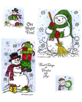 Snowman with Presents, Scarf, and Broom - NO-023