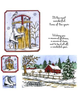 Chickadees, Sled and Winter Shed: NO-032