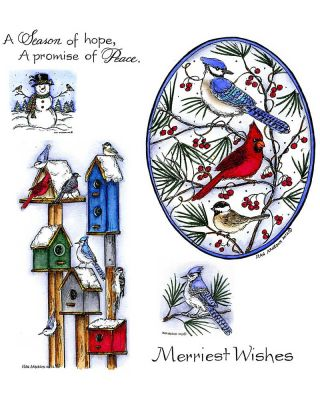 Winter Birdhouses and Blue Jay Oval - NO-033