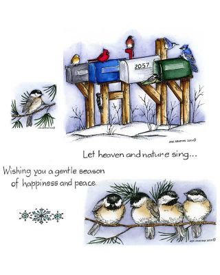 Winter Mailboxes and Chickadees - NO-034
