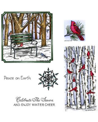 Winter Bench and Cardinals on Birch - NO-035