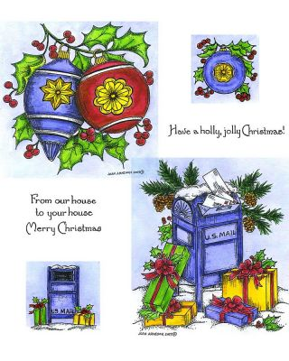 Holly Ornaments & Mailbox - NO-064