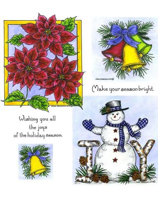 Joy Snowman & Three Poinsettias - NO-067