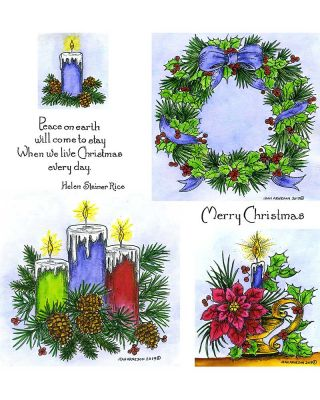 Three Candles & Holly and Pine Wreath - NO-068