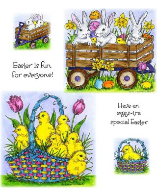 Spring Chicks In Basket & Wagon With Bunnies And Chicks - NO-081
