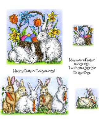 Bunch Of Bunnies With Carrots, Easter Basket With Bunnies, Tulips & Daffodils - NO-082