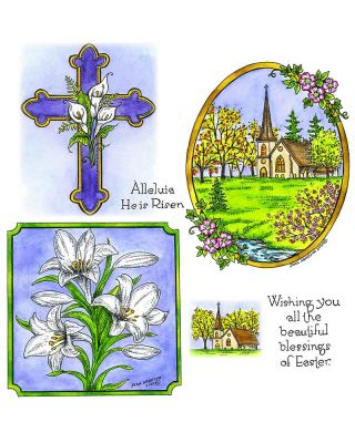 Serene Spring Church In Oval & Calla Lily Cross - NO-083