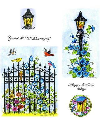 Morning Glories Lamp Post & Iron Gate - NO-088