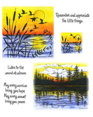 Cattail, Birds & Water Silhouette, Pine & Lake Silhouette - NO-090