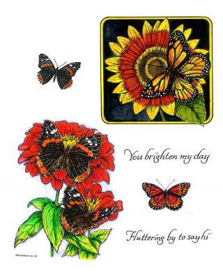 Monarch on Sunflower & Zinnias with Butterflies - NO-094