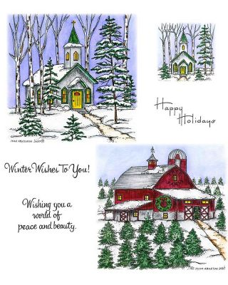 Snowy Church & Christmas Tree Farm - NO-114