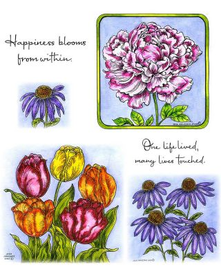 Peony, Tulip And Coneflower - NO-119