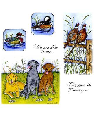 Pheasants On Fence & Three Labrador Retrievers - NO-128
