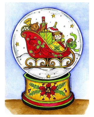 Santa's Sleigh Snow Globe - P10112