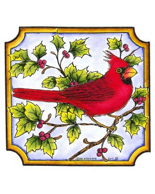 Single Cardinal in Notched Square - MM8295