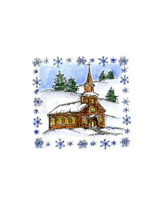 Small Church in Snowflake Frame - C10351