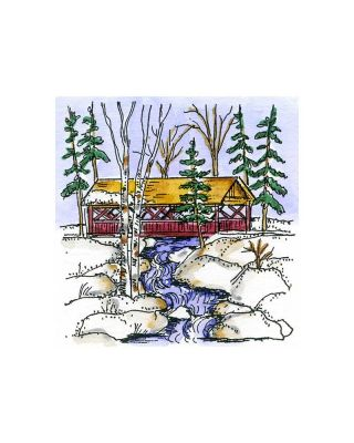 Small Covered Bridge With Pines - CC10886