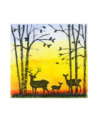 Small Deer and Birch Silhouette - C10788