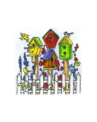 Small Spring Birdhouses and Fence - CC10921
