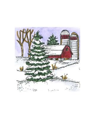 Small Spruce and Barn - C10724