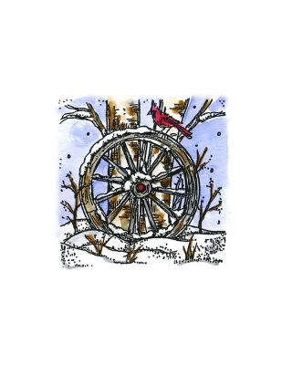 Small Wagon Wheel With Cardinal and Tree - P10533