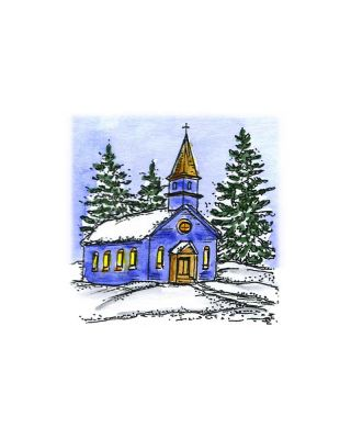 Small Winter Church and Trees - C10554