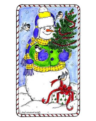Snowman, Tree, Present and Chickadees - NN10377