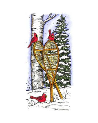 Snowshoes and Cardinals in Woods - O8297