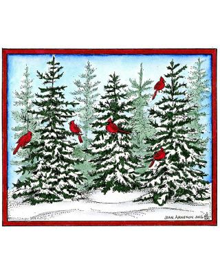 Snowy Spruce Trio With Cardinals - P10167