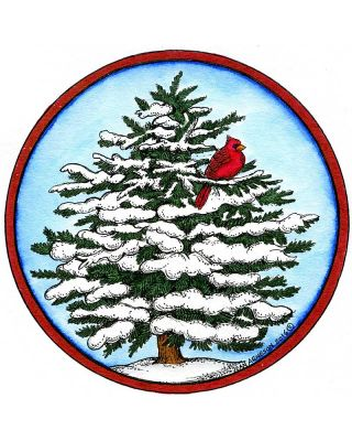 Snowy Spruce With Cardinal - PP10160
