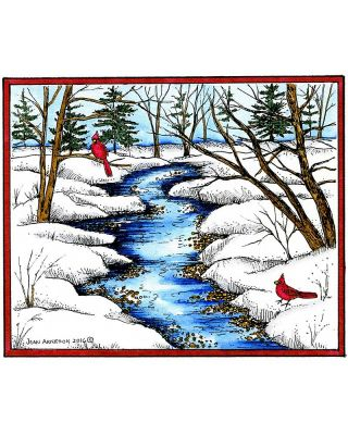 Snowy Stream Scene With Cardinal Pair - P10163