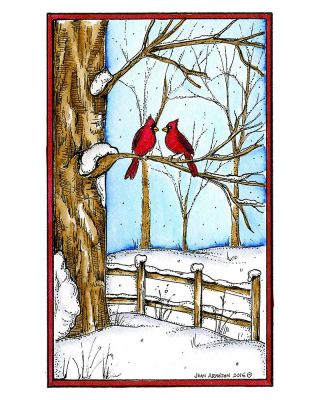 Snowy Tree and Fence With Cardinal Pair - NN10159