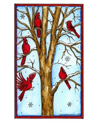 Snowy Tree With Cardinals - NN10161