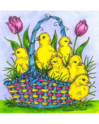 Spring Chicks In Basket - PP10744