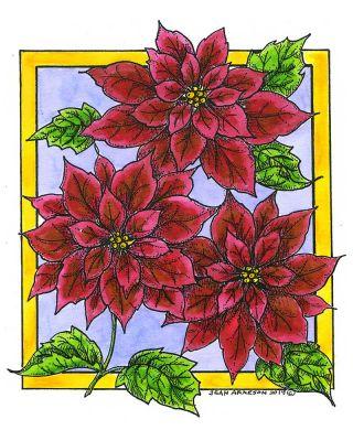 Three Poinsettias in Rectangle Frame - P10696
