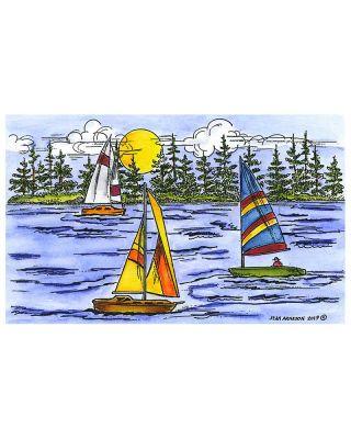 Three Sailboats On Lake - NN10611