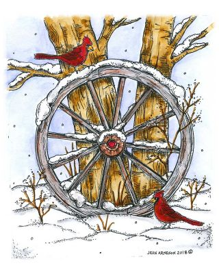 Wagon Wheel With Cardinals and Tree - P10532