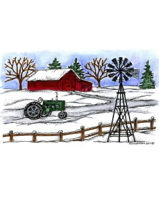 Winter Tractor and Windmill - NN10352