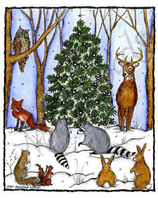 Winter Tree and Woodland Animals - P10143